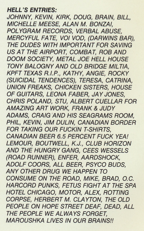 "The ""Hell's Entries"" list from Slayer's 1985 LP Hell Awaits, Metal Blade Records."