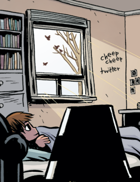 i used 'twitter' as a sound effect in scott pilgrim vol 1 (2004) and it looks really weird/fake to me now