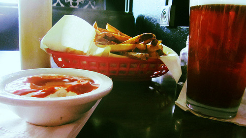 Dish: small hot & spicy fries with spicy tofu sauce Source: Dots Cafe Price: $3.50 Seven years ago,  I moved to the neighborhood just to be close to Dots. Their hand-cut fries have good days, and really good days, and this one was one of the latter. I'm of the dipping in ketchup and then spicy tofu sauce persuasion.  Brace yourself: a few months ago, Dots started taking cards for the first time ever.