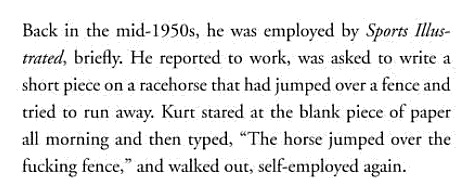 howtotalktogirlsatparties:  Kurt Vonnegut's time working at Sports Illustrated was brief.