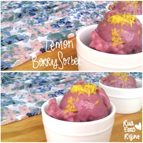 riiaeatsright:  Riia's Raw Vegan Lemon Berry Sorbet  Ingredients:  Frozen Fruit  Almond Milk Ice  How To: Throw fruit into a blender along with some almond milk. Blend until smooth. Keep adding ice and blending until you reach the texture of a sorbet. Enjoy! :) For the Lemon Berry flavor (pictured above) add bananas and mixed berries. Top off with lemon zest! And there you have it! :)