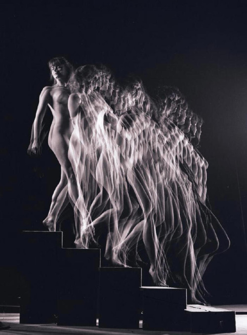 Gjon Mili A photographic interpretation of Marcel Duchamp's Nude Descending a Staircase No. 2. The controversy of the original is made apparent.