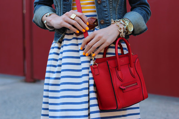 Skirt: Jcrew. Top: C Wonder. Purse: Celine. Jacket: Levis. Belt: Jcrew. Nails: POP 'Mandarin'. Jewels: Michael Kors, Jcrew Pave Bracelet. David Yurman, Jennifer Zeuner c/o, Pomellato. (image: atlantic-pacific)