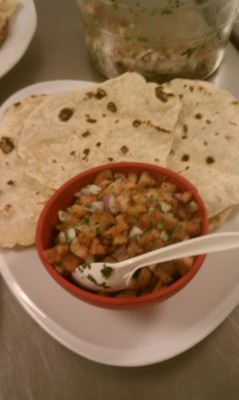 Homemade flour tortillas and pico de gallo