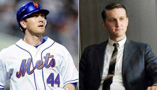 Look-alikes New York Met baseball player Jason Bay and doppleganger Mad Men account guy Ken Cosgrove (actor Aaron Staton) Submitted by David C.