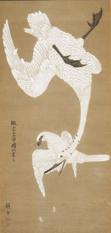 fox-teeth:  centuriespast:  Falcon Attacking GooseARTIST:Yoshida RankoDATE:c. 1780 The Minneapolis Institute of Arts  Just gonna stare at this for awhile okay? Dat composition   That falcon just drags you down, goose and all.