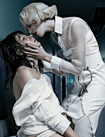 "This disturbing photoshoot from Interview magazine features a sadistic ""nurse"" torturing a bewildered patient. There's an obvious handler/mind control victim relationship depicted here."