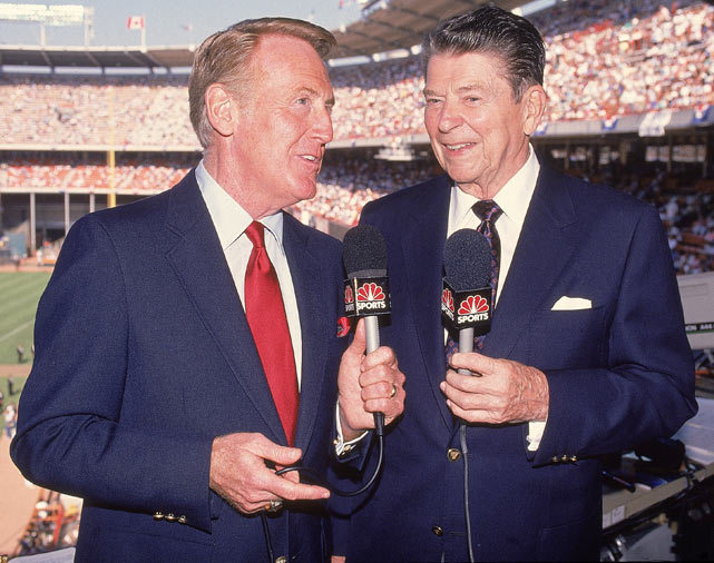 Vin Scully is joined by President Ronald Reagan in the broadcast booth during the 1989 All-Star game. Scully has been calling Dodgers games since 1950. (V.J. Lovero/SI) GALLERY: Rare Photos of Vin Scully RUSHIN: Scully a national treasure