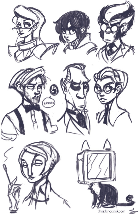 Warmup sketch of the Dark Science cast. Left to right: Vonnie Awning, Kim Ross, Kaito Kusanagi, Balthazar Bogan, Mathias Melchior, Serena Ross, Alisa Caspar and a TV Cat!