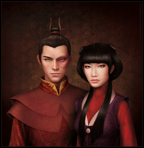 stepchildofthesun:  Portrait of Zuko and Mai by missbennet.