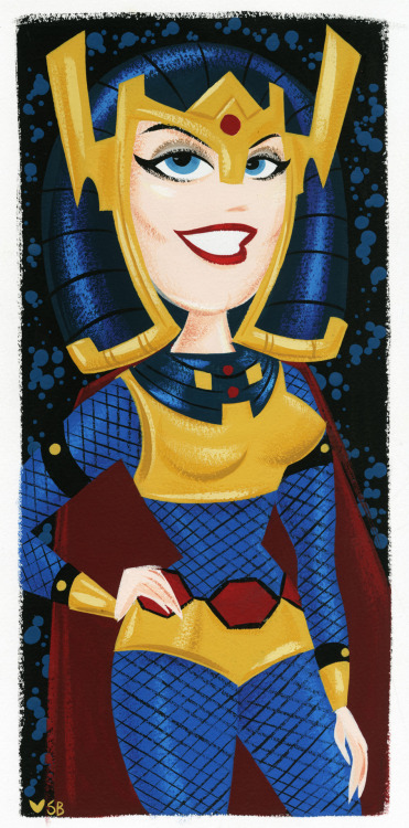 Big Barda, painted with gouache on watercolor paper.