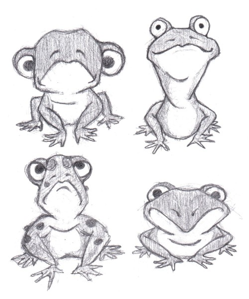 Some froggy character sketches… each will get the same basic animation treatment as in the previous post.