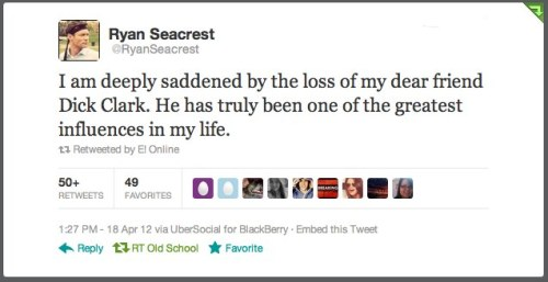 Ryan Seacrest reacts to Dick Clark's death.