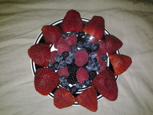 Afternoon snack. Strawberries, blueberries, blackberries and raspberries.