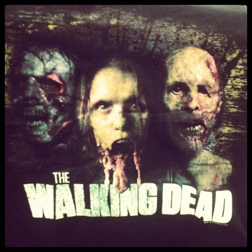 Our new Walking Dead shirt at work. I bet it's better than Hot Topic's. #walkongdead #zombies #gutsngore (Taken with instagram)