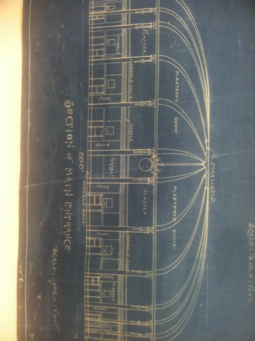 Original blueprint of main entrance at Ebbets Field (home of the Brooklyn Dodgers).