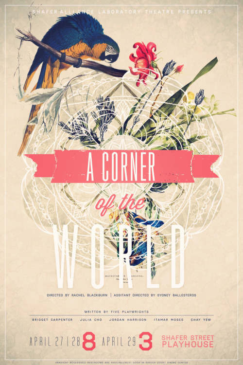 "designersof:  A poster I most recently created for a local show of ""A Corner of the World."" A truly beautiful show, I felt that the poster needed to reflect balance and meditation while retaining my signature collage style. I really haven't enjoyed creating this much in a long time."