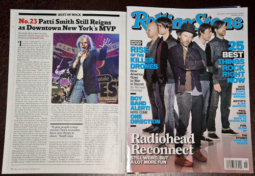 My photo of Patti Smith is on page 70 of the current issue of Rolling Stone magazine. Fuck yeah!