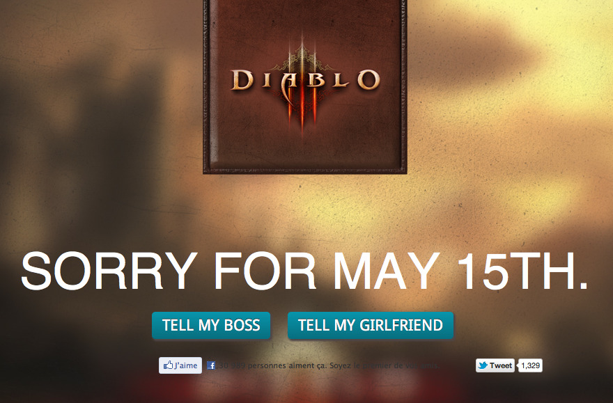 Sorry for May 15. Diablo III