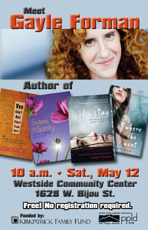 Save the date! YA author Gayle Forman May 12, 10 am.