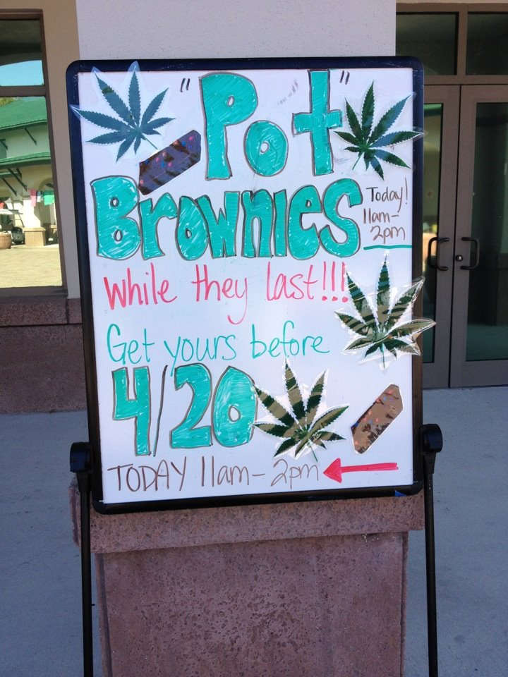 "xdeviantfallacyx:  so apparently this sign was in front of the wellness center, saying that they were giving out ""pot"" brownies. too bad for every stoner on campus, it was just a joke and all they gave out were cosmic brownies FGCU just single handedly trolled every pot head on campus. all i can say is that i'm impressed lmfao. i love this college"