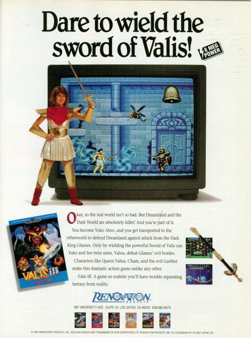 Ad for Valis III on the Megadrive / Genesis.