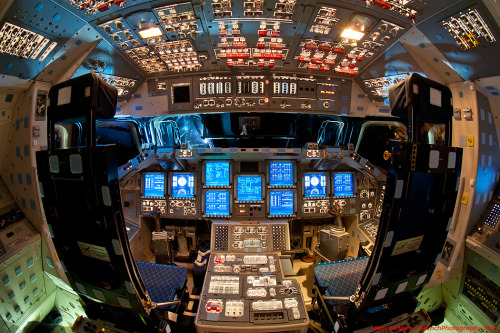 particlesandpsychedelia:  The flight deck of the space shuttle Endeavour, now permanently grounded along with the rest of the shuttles.