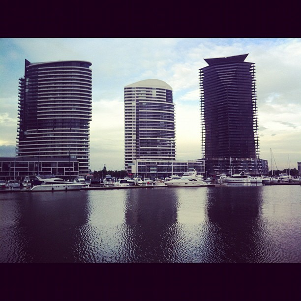 My view as I wander to work #melbourne #docklands  (Taken with instagram)