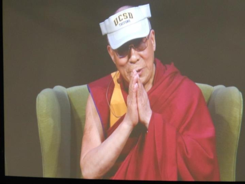 Pictures of His Holiness the Dalai Lama wearing a visor or ballcap always make me smile. And he's in San Diego this time, so it's doubly cool.