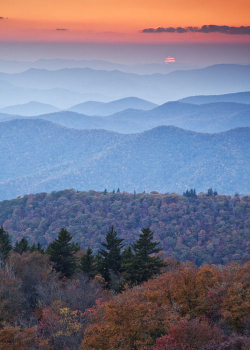 tupac:  Sunset at Blue Ridge Parkway  should I move closer to these mountains?