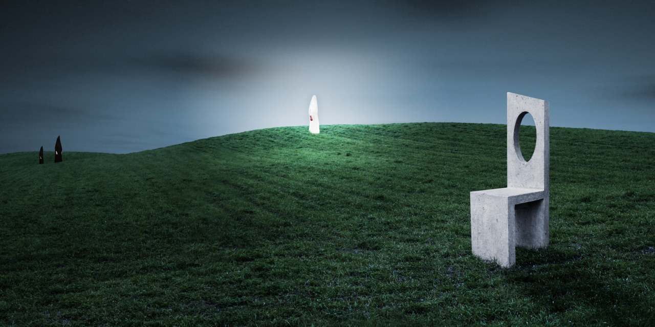 …an empty stone chair in the middle of a pasture underneath a darkening sky… an angel of light appears and the forces of darkness can only watch from a distance. click to enlarge