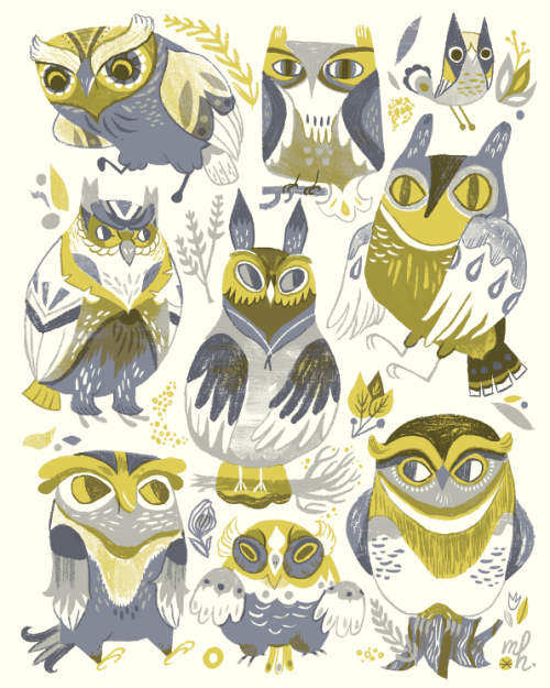 paperalligator:  Well hello, Messrs. Owl. Might tweak a little more and I'm flipflopping about the colors… but with luck I'll have this print ready for TCAF! And yes, I'll have copies to sell online too. A lot of them!