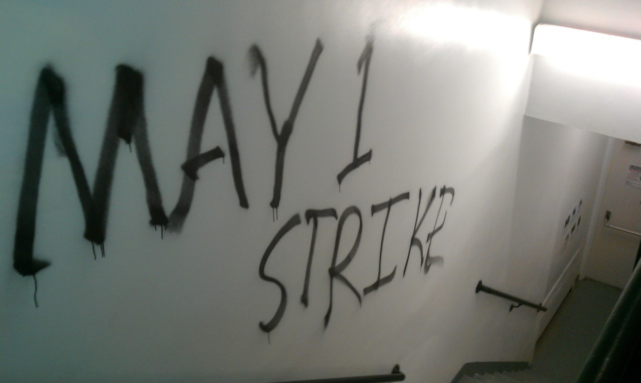 May Day graffiti in a New School building.