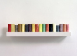 artspotting:  Rachel Whiteread, Line Up 2007-2008  plaster, pigment, resin, wood and metal (eighteen units, one shelf) 17 x 90 x 25 cm  via kutr