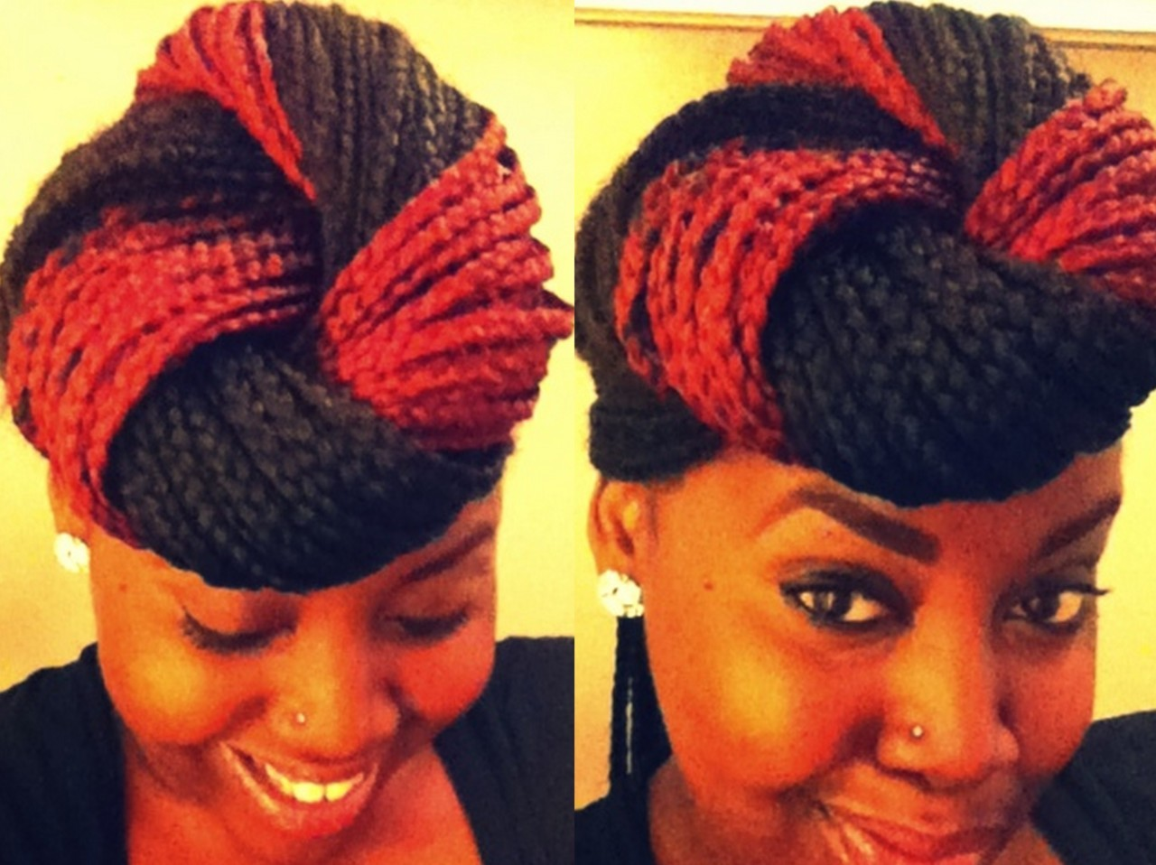my box braid updo. braids done & styled by me.  -onyinyechi
