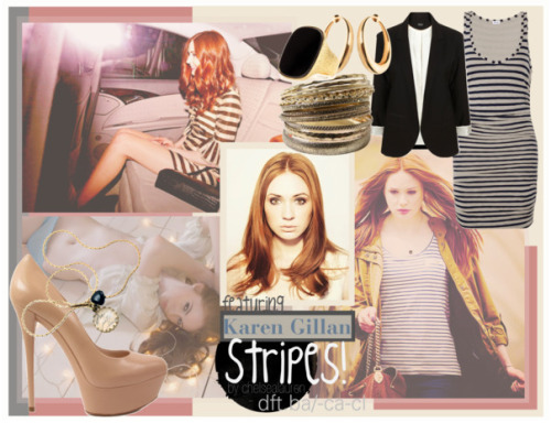 Stripes | Original Set - featuring Karen Gillan by chelsealauren10 featuring stone jewelry