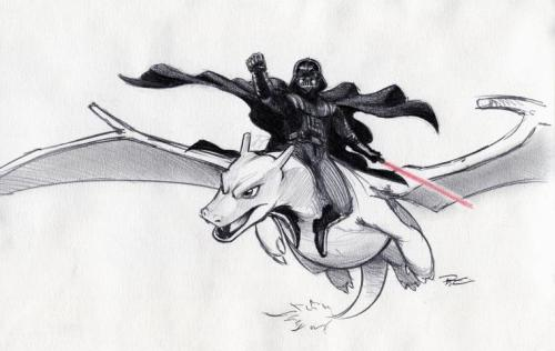 jimmyglaspy:  Darth Vader riding Charizard  dude, did you draw this? I totally want this as a tattoo. hahaha