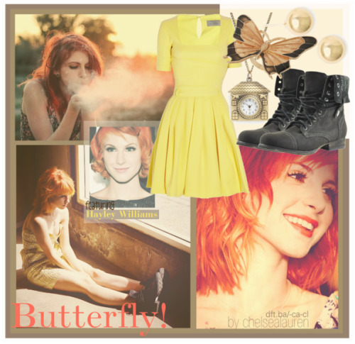 Butterfly! | Original Set - featuring Hayley Williams by chelsealauren10     Peak shoes, $80Dorothy Perkins butterfly jewelry, $15Chain jewelry, $20