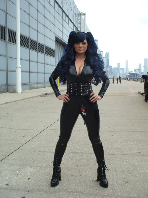 Fetish model Charlie Mancini wearing a sexy PVC catsuit.  @C2E2 2012