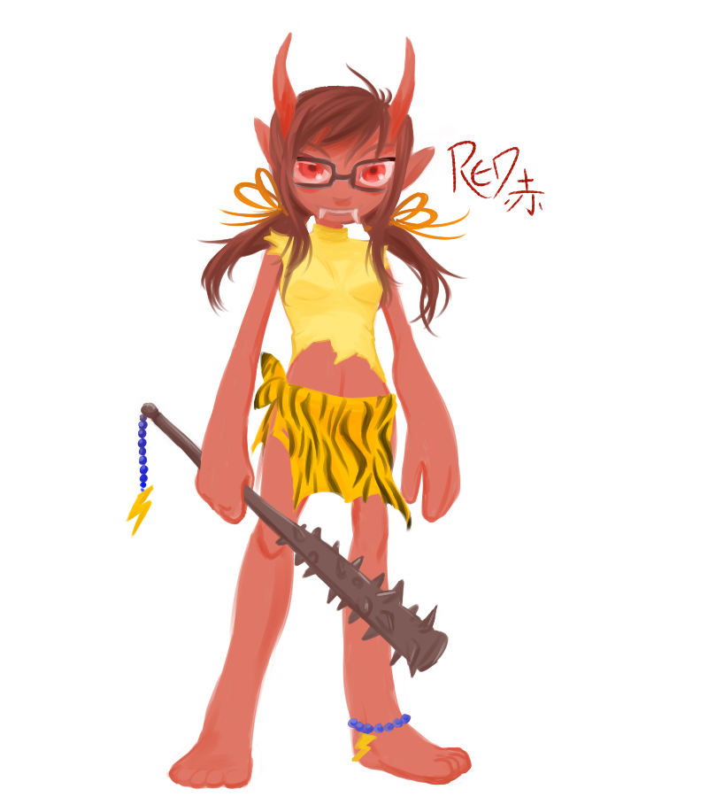 "I did that whole ""draw yourself as an oni"" meme STILL PROCRASTIATING"
