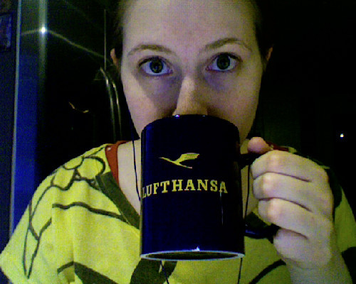 PG Tips in a Lufthansa mug. I'm feeling a bit…international today.