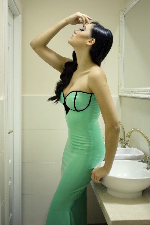 coco-late:  Marie gown in Jade Green with simple black trim. Photography and editing: Lydia Tausi.Model: Ángela Durán.Hair & Makeup: Yuna Gea.Acknowledgements: Cream Bakery Madrid  www.coco-late.es