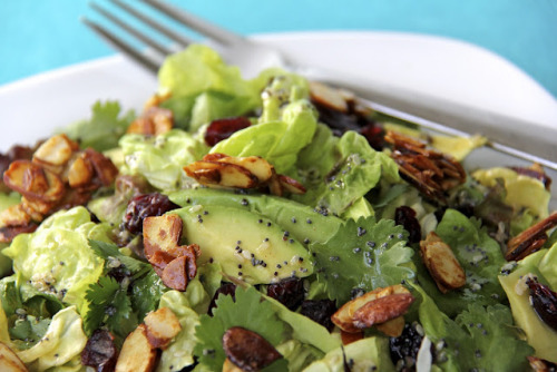 FOUND. Cranberry-Avocado Salad with Candied Spiced Almonds and Sweet White Balsamic Vinaigrette