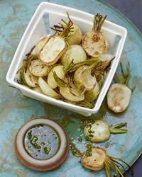 IN SEASON. Roasted Baby Turnips with Parsley-Mustard Vinaigrette