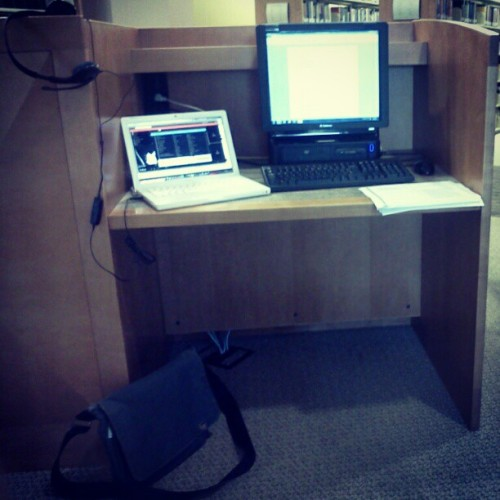 The workstation where I'll be spending the rest of my day (Rice Library, University of Southern Indiana)Taken with instagram