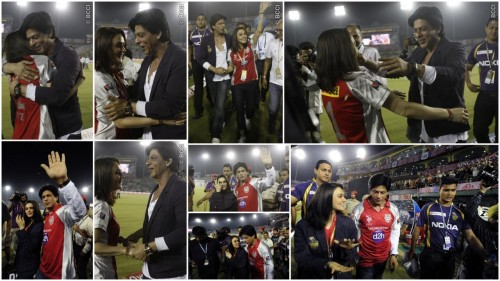 SRK and P.Z Kings X1 Punjab VS Kolkata Knightriders IPL Game Putting their games aside they are such a sport. I love the fact that Srk gave his jacket to PZ he's such a gentlemen. Both have dimples and very down to earth & humble. I miss them together onscreen.