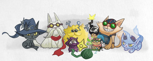 qqchrystal:  Yordles! by ~inkinesss // I like how Amumu is a ball of bandages :D