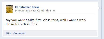 "I posted this earlier today as an ironic Facebook status. It's a line from R. Kelly's song ""Don't You Say No"" which is a terrible song about bribing/guilting a woman into having sex. I've been listening to White Denim's killer cover, which I'm assuming they also did humorously. Since nobody ""liked"" or commented on it, I'm pretty sure everyone on Facebook doesn't think it's funny and thinks I'm a pervert. Or thinks I put out a call for a prostitute via Facebook status. Eh, I'm okay with that."