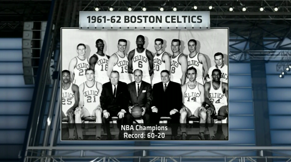 61-62 Celtics. Celebrating the 50th anniversary of their championship today. (4.18.12)