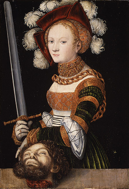 Salome with the head of Saint John the baptist. Lucas Cranach, 1530s.
